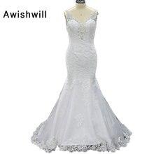 White Vestido De Novia V-neck Beading Lace Tulle Princess Bridal Gowns Bridal Dresses Mermaid Wedding Dress 2017 Custom Made