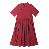 2019 New Summer Women dress Chinese Style Pearl Clasp Cotton And Linen Dresses Wine Red 1266