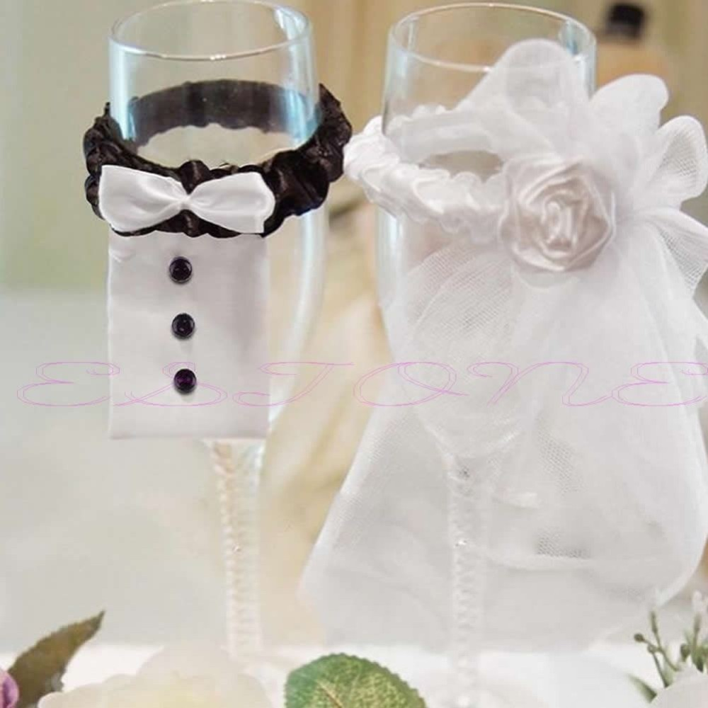 2pcs Bride And Groom Wedding Party Wine Glasses Champagne Flutes
