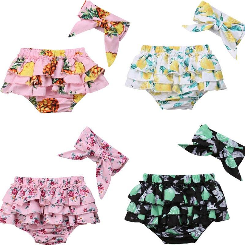 Girls Shorts Fashion Toddler Baby Girl PP Bottoms Kids Ruffle Floral Pants Newborn Shorts Bloomers Panties Headbands 2Pc Costume