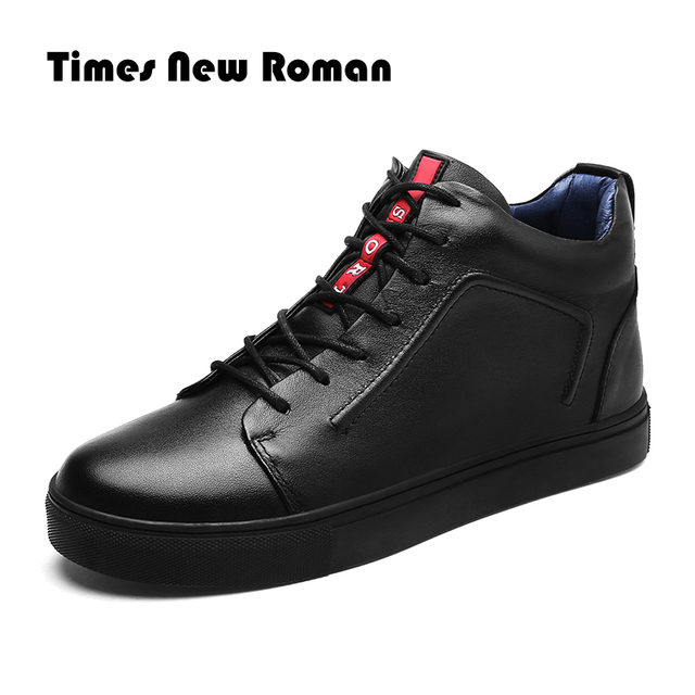 Times New ローマブランドホット保温男性冬のブーツ高品質本革カジュアル作業着用ファッション男性靴