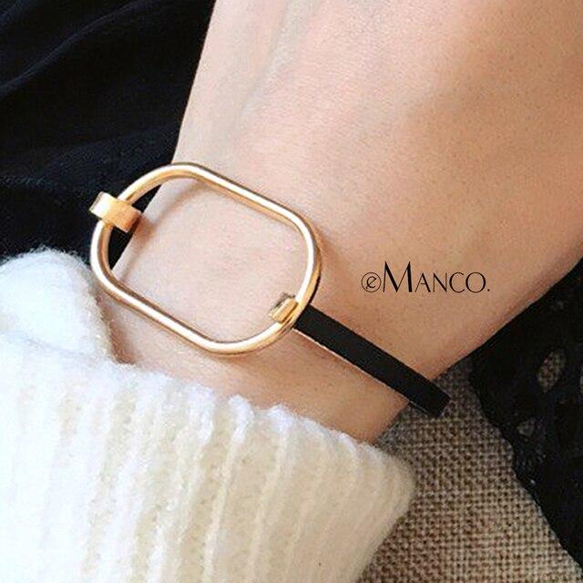 eManco Black Metal Bracelet Simple Geometric Punk Bangles Minimalist Gifts For W
