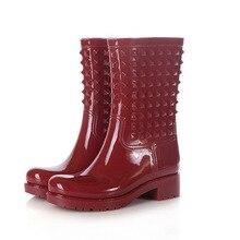 2015 Горячей продажи заклепки женщины резиновая водонепроницаемый середины икры сапоги PVC женщин дождь обувь botas де агуа резиновые YX007