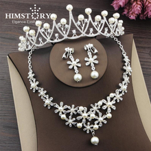 HIMSTORY Fashion Design Flower Crystal Pearl Bride 3pcs Set Necklace Earrings Tiara Bridal Girl Wedding Jewelry Set Accessories red crystal pearls bride wedding jewelry sets tiaras necklace earrings 3pcs set women party prom pearl hair jewelry ornament set