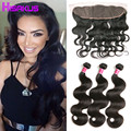 Top Quality Bundles with Frontal Raw Indian Hair Body Wave 3 Bundles with Frontal Cheap Lace Frontal Closures 13*4 Human Hair