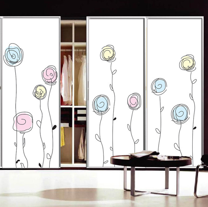 Window Wardrobe: Elegant Flowers Custom Opaque Sliding Door Wardrobe Mirror