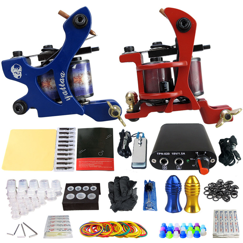 Pro 2pcs Coil Tattoo Machine Tattoo Guns Liner Shader Power Supply Needles Tips Grips Tattoo Artist europe god of darkness robert recommend gp self lock grips gp3 professional tattoo artist grip