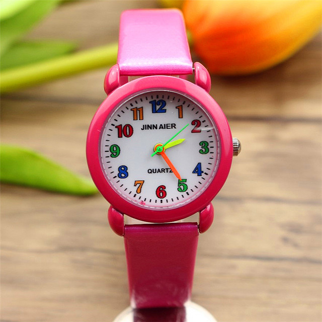 free shipping cute quartz kids watch learn to time boys and girls color face sim