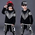 Big Children's Girls boys Cotton Clothing Set 2016 fashion Top+pants sets for Kids Girls Hip Hop dance Costume tracksuits