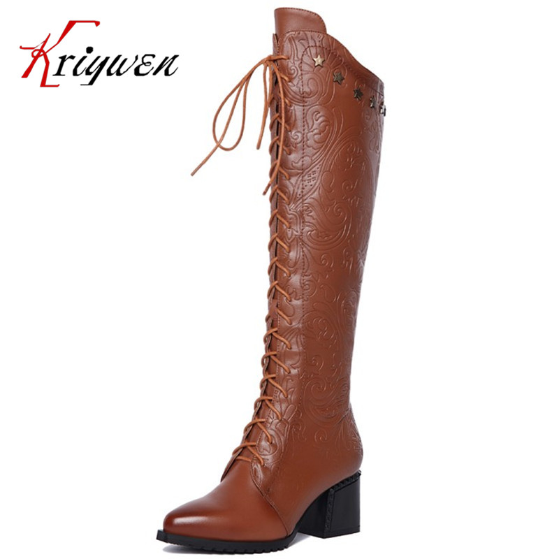 Big size 34-42 Winter 2017 new lady Botas Over the knee Boots Femininas mujer High heel Boots 100% genuine leather leisure shoes 2017 new winter arrival long boots for women over the knee thigh boots high heel flock shoes club boots botas mujer femininas