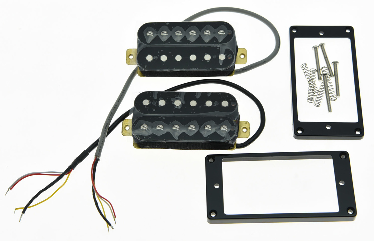 KAISH Set of 2 Black Alnico V Guitar Humbucker Neck&Bridge Pickup Power Sound Pickups kmise electric guitar pickups humbucker double coil pickup bridge neck set guitar parts accessories black with chrome gold frame