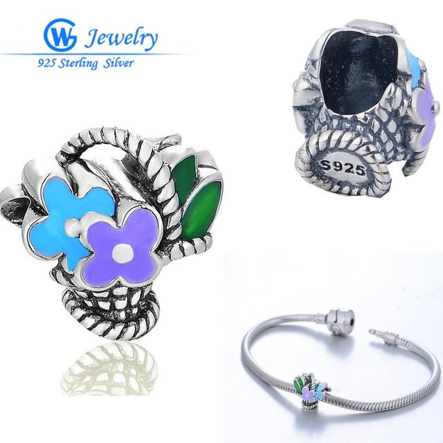 Flor de la manera de plata 925 encanto diseño original para diy pulseras y brazaletes collar berloque gw fine jewelry d158h20
