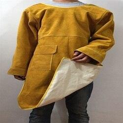 Durevole di Saldatura di Cuoio Cappotto Lungo Grembiule di Protezione Abbigliamento Abbigliamento Vestito Saldatore Sicurezza Sul Posto Di Lavoro indumenti protettivi abbigliamento