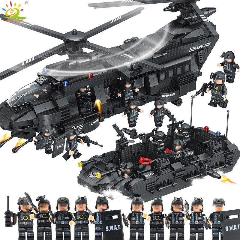 Шт. 1351 шт. Военная Униформа армии спецназ полиции здания Конструкторы космический корабль с фигурами Совместимость Legoed вертолетные лего-де...