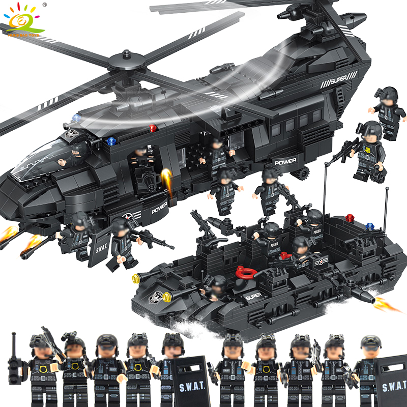 1351pcs Military Army Swat Police Building Blocks Spaceship with figures Compatible Legoed helicopter Bricks Toys for children цена