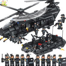 1351pcs Military Army Swat Police Building Blocks Spaceship with figures Compatible Legoed helicopter Bricks Toys for children(China)