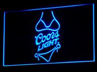 A119 Coors Light Beer Bikini Bar Pub LED Neon Sign With On Off Switch 20 Colors