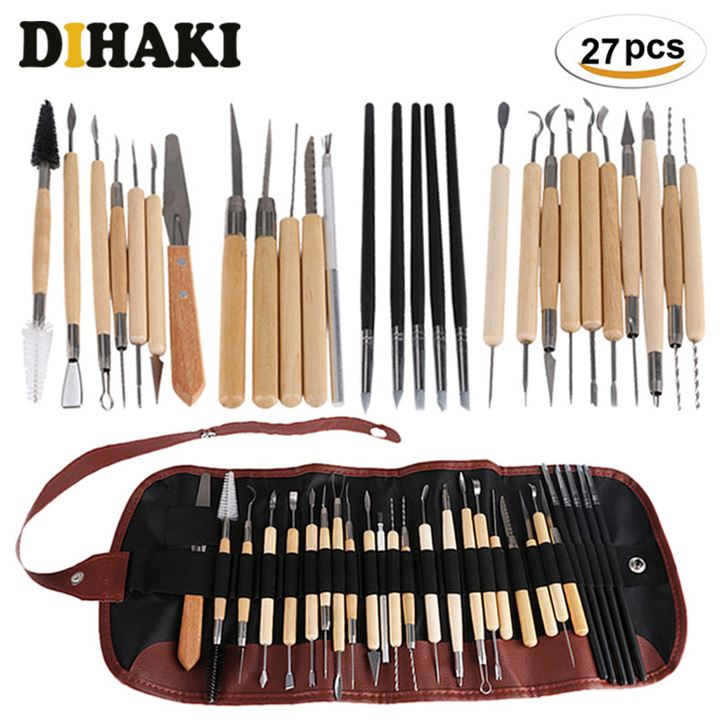 27Pcs Professional Clay Sculpting Tools set with bag Fimo Modeling carving Clay Tool Home Combination Wood Working Hand Tool kit