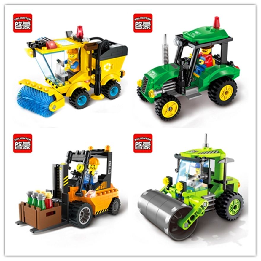 ENLIGHTEN City Construction Road Roller Forklift Truck Tractor Sweeper Model Building Block Toys Figure Compatible With Lego 0367 sluban 678pcs city series international airport model building blocks enlighten figure toys for children compatible legoe