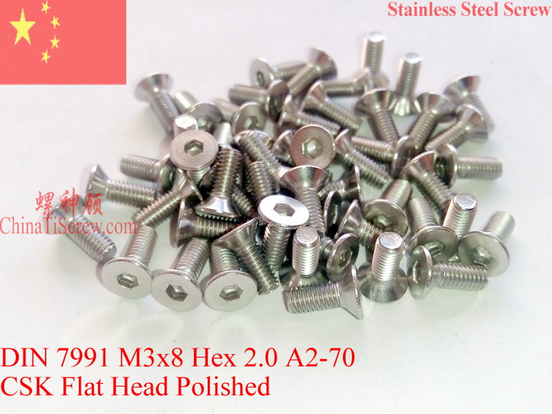 Stainless Steel screws M3x8 CSK Flat  Head DIN 7991 Hex Driver A2-70 Polished ROHS 100 pcs