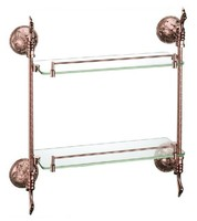 Free shipping Rose gold Finish BATHROOM ACCESSORIES DOUBLE BATHROOM GLASS SHELVES