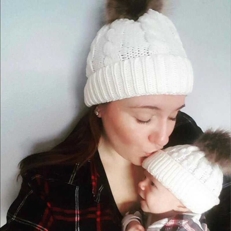 Mother and Newborn Baby Kids Warm Knitted Solid Winter Comfort Hats