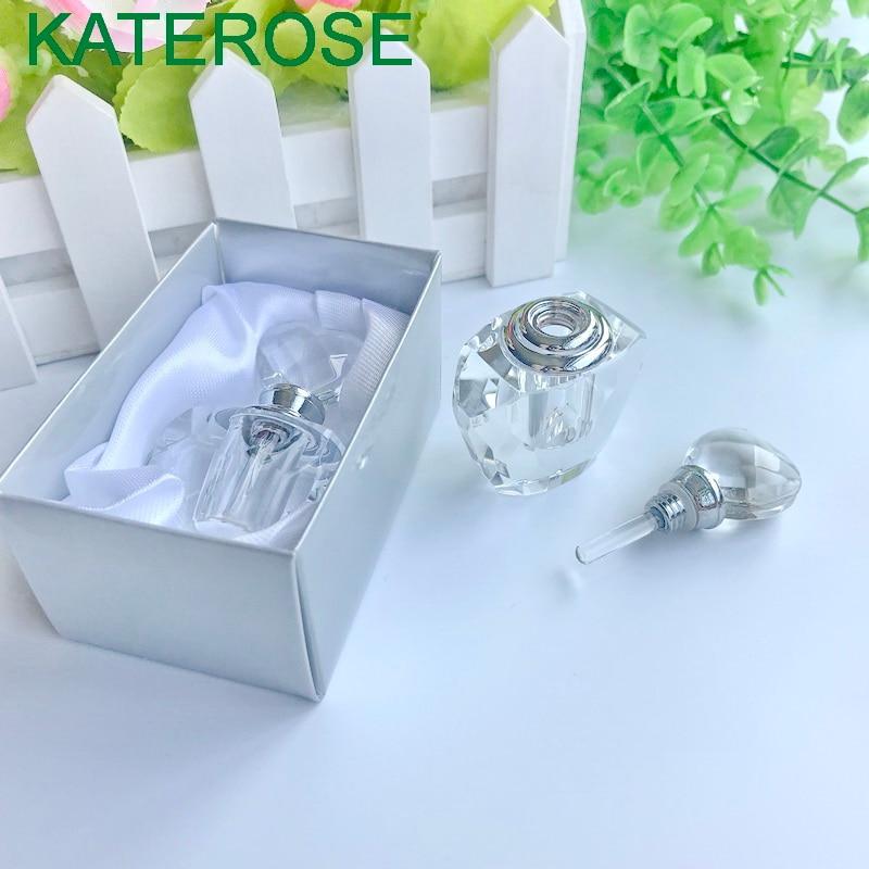 80 sztuk serca kryształowa butelka do perfum w pudełko na prezenty ślubne Crystal Scent butelki prysznic dla nowożeńców strona powrót prezent dla gości w Prezenty imprezowe od Dom i ogród na  Grupa 2