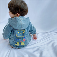 Одежда для маленьких мальчиков и девочек от 2 до 7 лет джинсовая куртка осенне-зимние куртки с капюшоном и сумочкой с героями мультфильмов для мальчиков, Детская Верхняя одежда Детские пальто