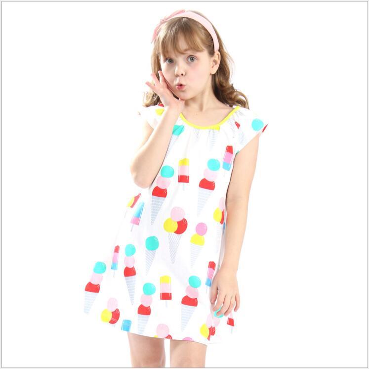Girls summer dress princess Clothes teenager girl Cartoon icecream Cotton costume for children vetement enfant fille 8pcs/lot