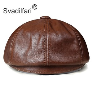 Image 3 - Retro Octagonal Genuine Leather Hat Autumn Mens Cowhide Leather Beret Elegant Fashion Student Tongue Cap Snapback Caps For Men