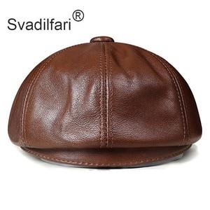 Image 3 - Retro sekizgen hakiki deri şapka sonbahar erkek inek derisi deri bere zarif moda öğrenci dil kapağı Snapback erkekler için Caps