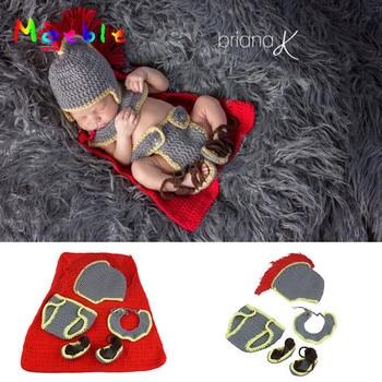 Kecil Anak Laki-laki Knight Pakaian Set Crochet Topi Bayi dan Popok Baru Lahir Fotografi Fotografi Alat Peraga Bayi Mewah Baju Pesta