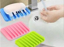 1PC Fashion Design Colorful Silicone Flexible Soap Dish Plate Bathroom Soap Holder Soapbox Tray Drain -50