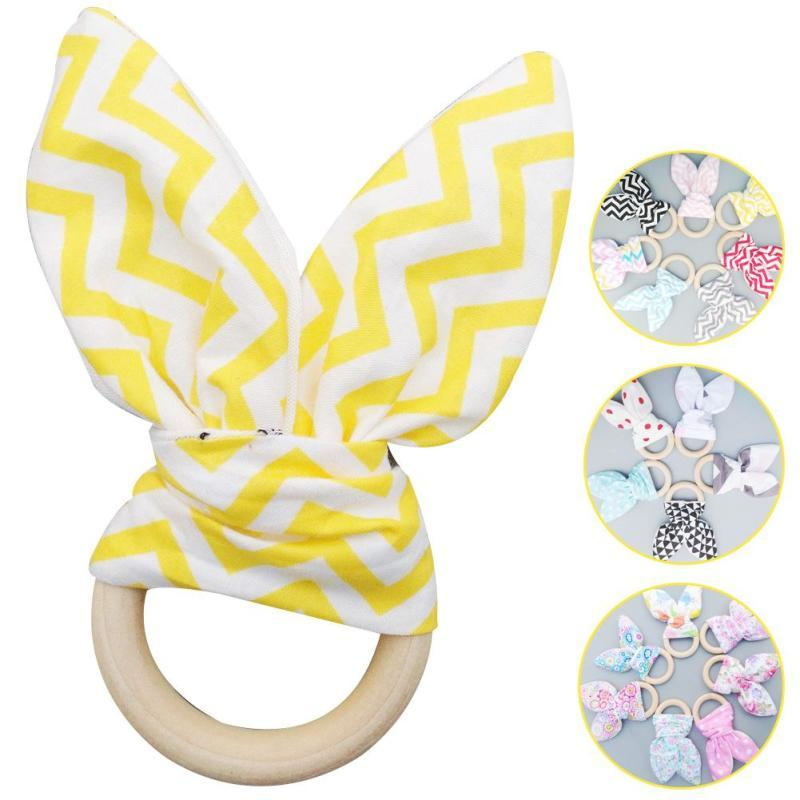 Bunny ear baby teether toy Wooden teethers for infant newborn baby Dental care teething ring Kids Biting Teething Teether D3-26B