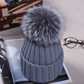 Knitted Hats for The Winter with 12CM Silver Fox Fur Ball Tops Women Acrylic Russian Cap Beanies Casual Women's Fur Hat 03-P31