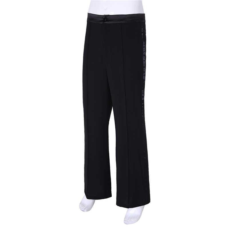 IIXPIN мужские латинские танцевальные брюки с атласной талией и боковой атласной полосой латинские Бальные танго Современная Сальса практические занятия танцами одежда брюки