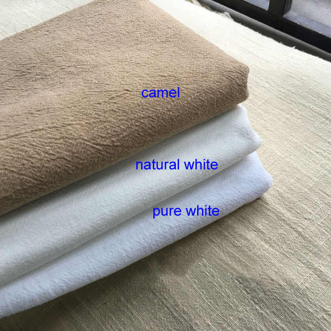 100cm*140cm Washed Summer Shirts Material Soft Crepe Dress Fabrics Cotton Linen Plain Dyed