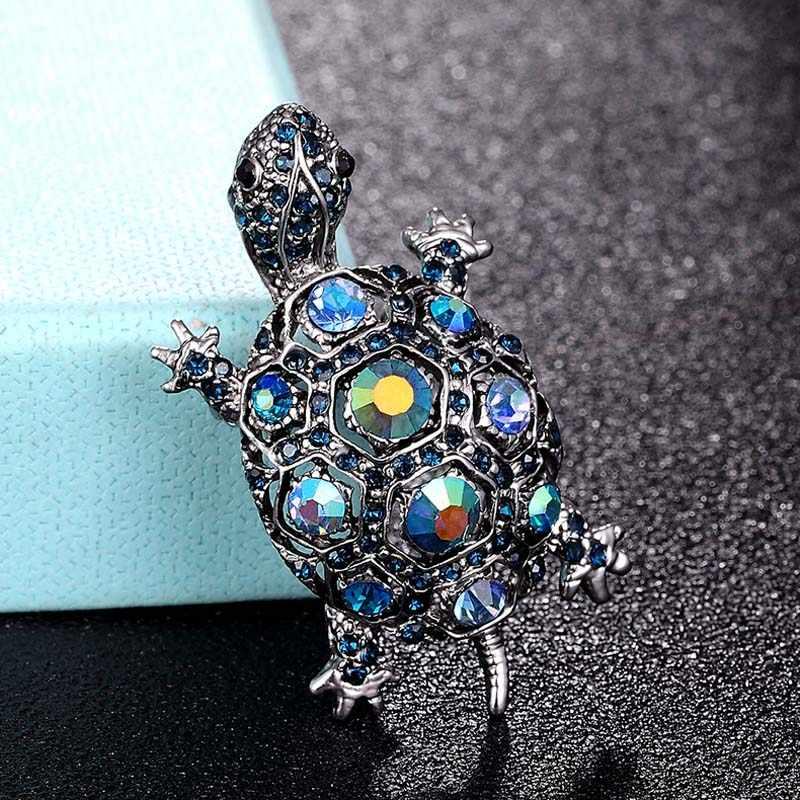 Blucome Hijau Berlian Imitasi Turtle Bros Pin Cute Kawaii Vintage Tortoise Bros Anak-anak Hadiah Hewan Jilbab Pin Aksesoris Tas
