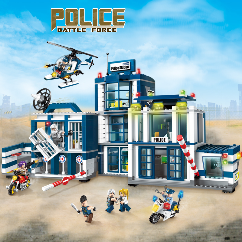 Enlighten Police Station Educational Building Blocks Toys For Children Gift City Hero Weapon Stickers Compatible Legoe 1700 sluban city police speed ship patrol boat model building blocks enlighten action figure toys for children compatible legoe