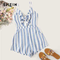 SHEIN Boho Blue Bow Knot Slant Pocket Striped Cami Romper Women Sleeveless Playsuit Summer 2019 Casual Beach Style Cute Rompers