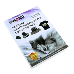 A4 tamanho impressora a jato de tinta camiseta escuro algodão têxteis transferência sublimação transferência papel v v-hong hong