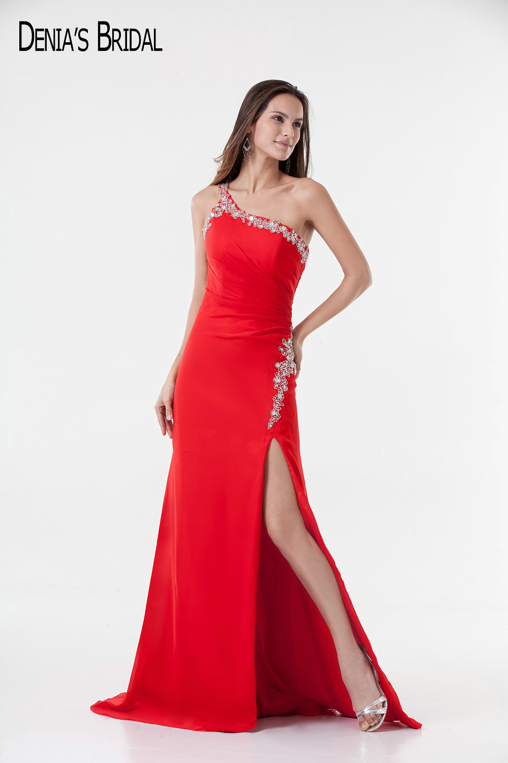 2017 Actual Images Red Mermaid Evening Dresses with Sweetheart Neckline Side Split Floor Length Beaded Sliver