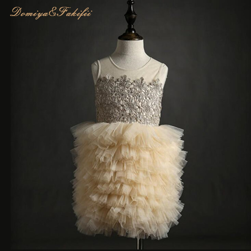 2018 New Brand Luxurious Princess Baby Girls Toddler Lace Tutu Communion Dress Layered Party Wedding Bow Formal Flower Pagean 2017 fashion summer hot sales kid girls princess dress toddler baby party tutu lace bow flower dresses fashion vestido