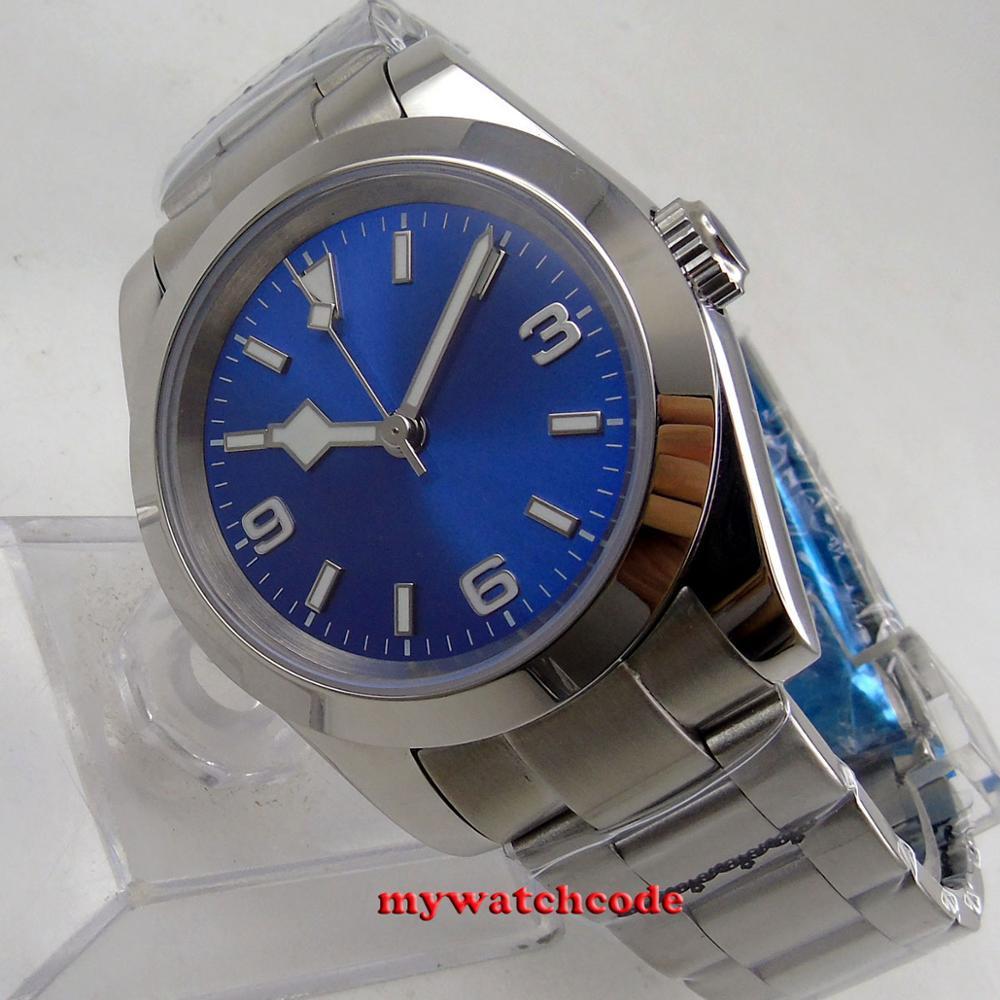 40mm bliger stérile cadran bleu marque lumineuse saphir verre automatique flocon de neige argent montre hommes montre - 6