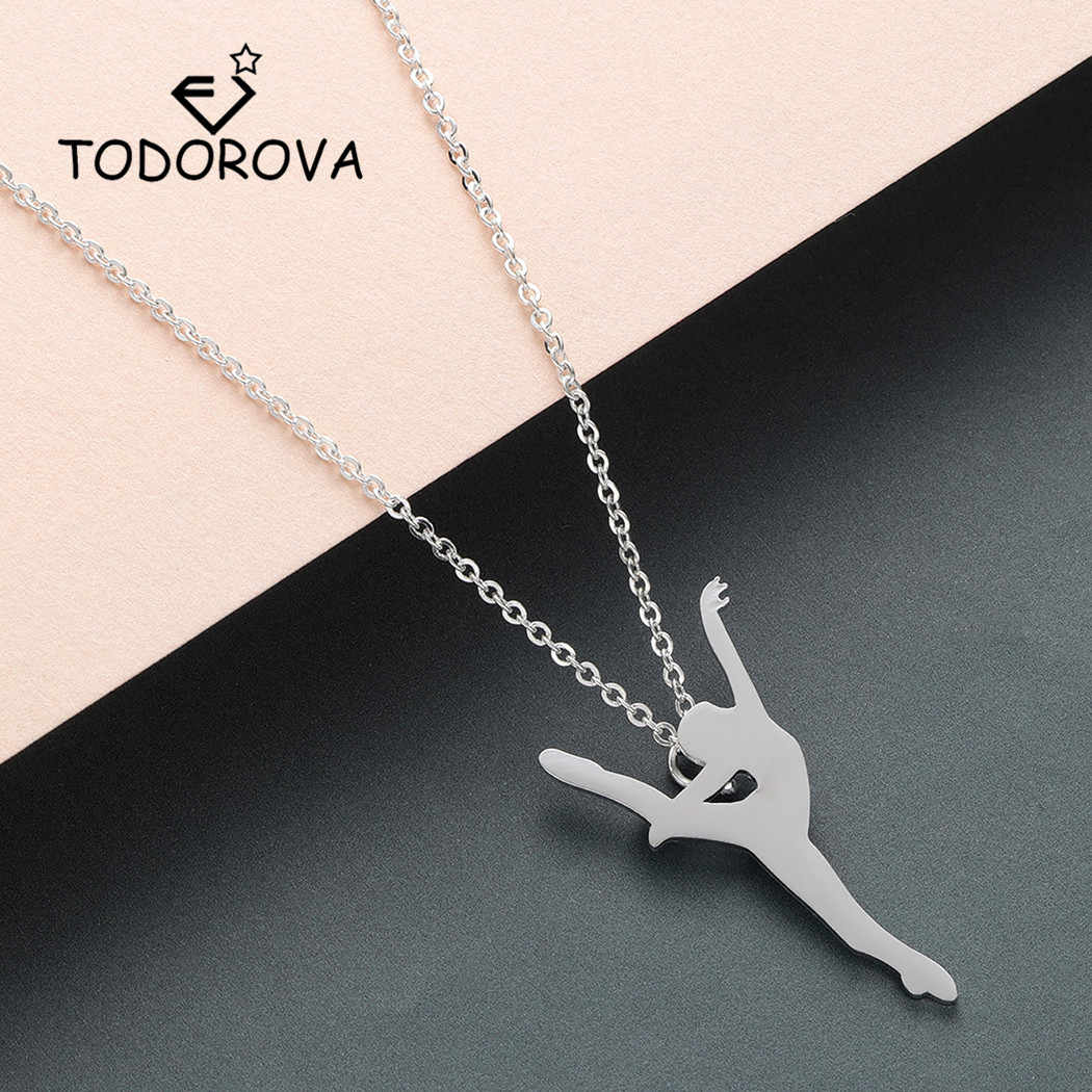 Todorova Elegant Ballerina Dance Ballet Girl Women Necklace Figure Dancer Pendant Necklace Stainless Steel Jewelry