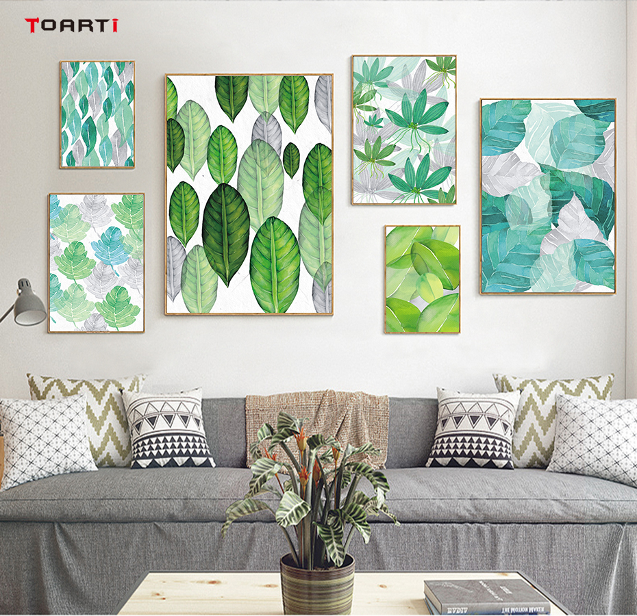 Tropical Plant Leaves Canvas Art Painting (1)