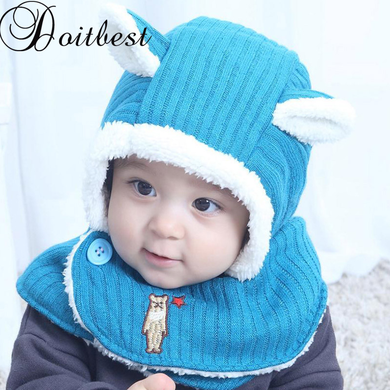 Doitbest 6 Momths To 3 Y Baby Kids Beanie Conjoined Rabbit Ears Kids Boys Knitted Fur Hats Winter 2 Pcs Boy Girl Scarf Hat Set