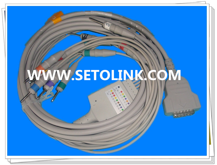 GE 11PIN ECG EKG CABLE 10 LEADS MAC 1200 MAC 500 TPU MATERIAL DIN 3.0 END
