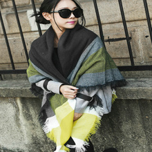 Hot Sale Women Winter Cozy Yellow Tartan Plaid Scarf Blanket large wrap shawl Scarf