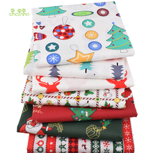 Chainho,New Christmas Series,7pcs/Lot,Printed Twill Cotton Fabric,Patchwork Cloth For DIY Sewing&Quilting Baby&Children Material